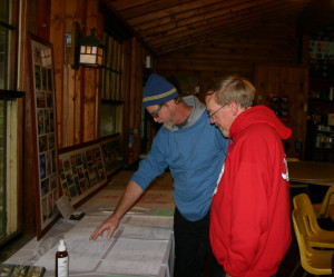 Looking at one of the exhibits.